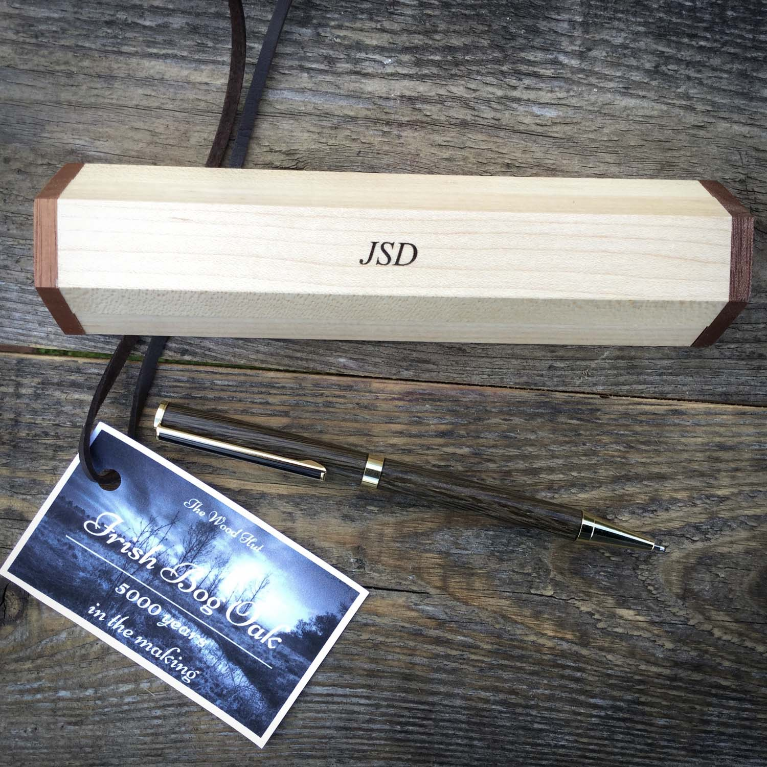 personalised Bog Oak pen