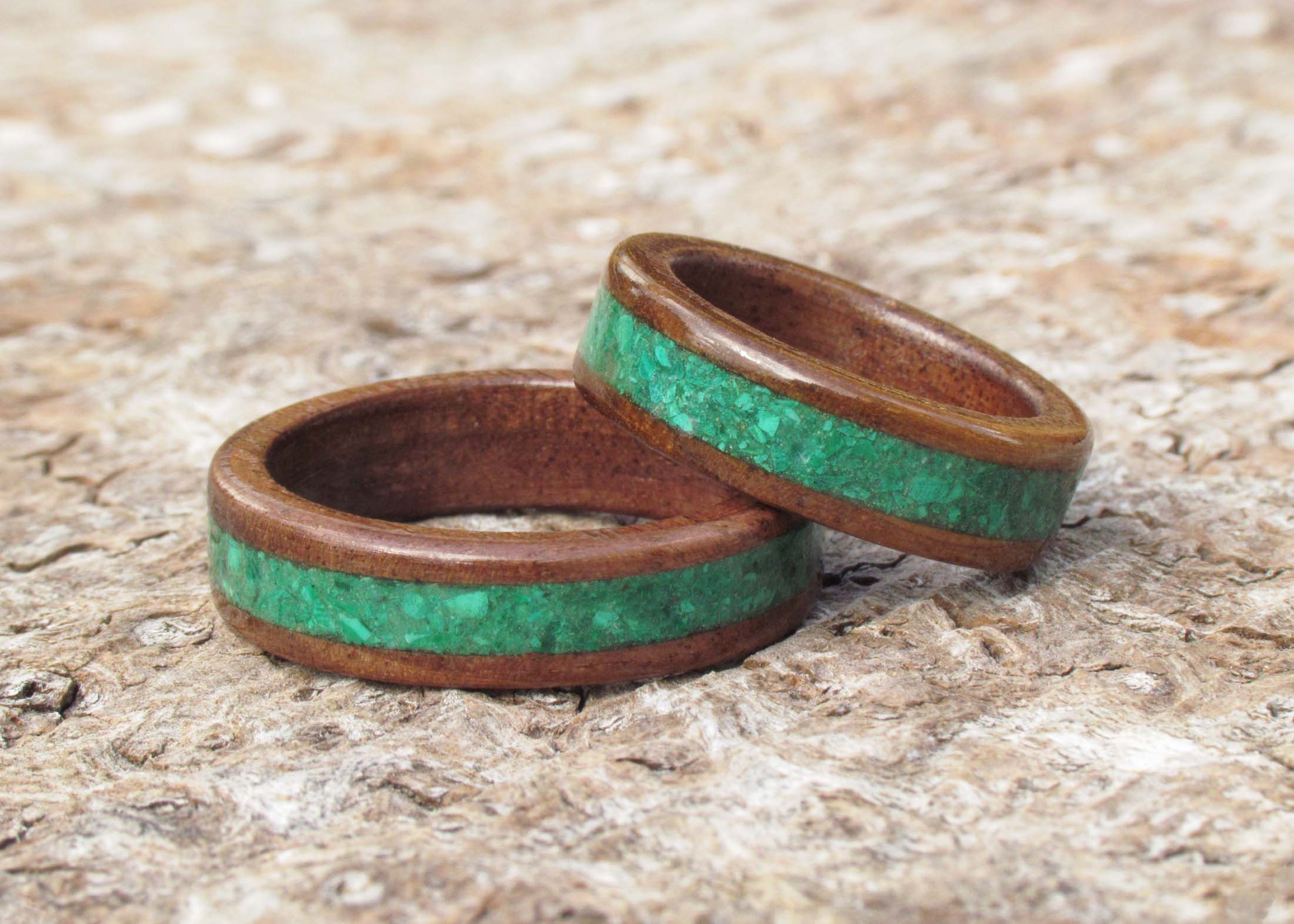 Wooden Wedding Ring Sets - We are able to make custom wooden wedding rings from the same section of wood and gemstone adding continuity to your design and a sense of unity.