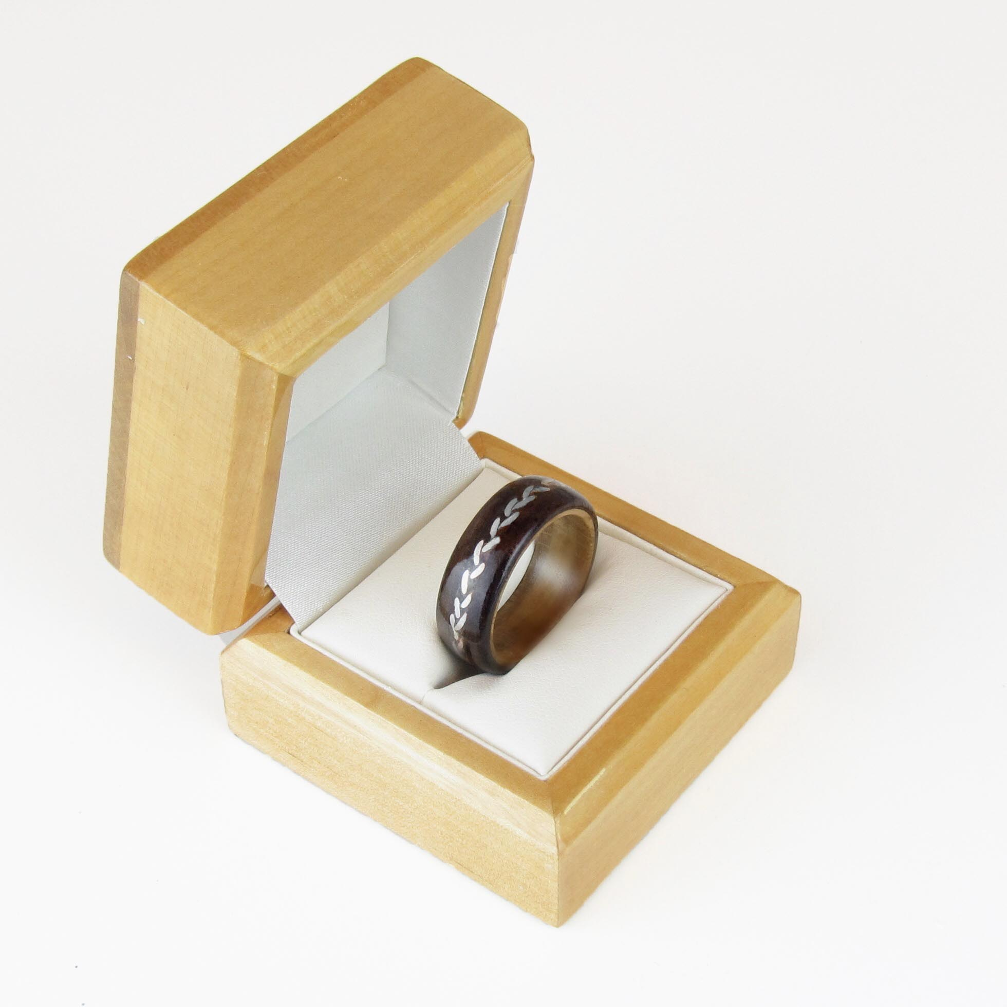 wooden engagement ring in box