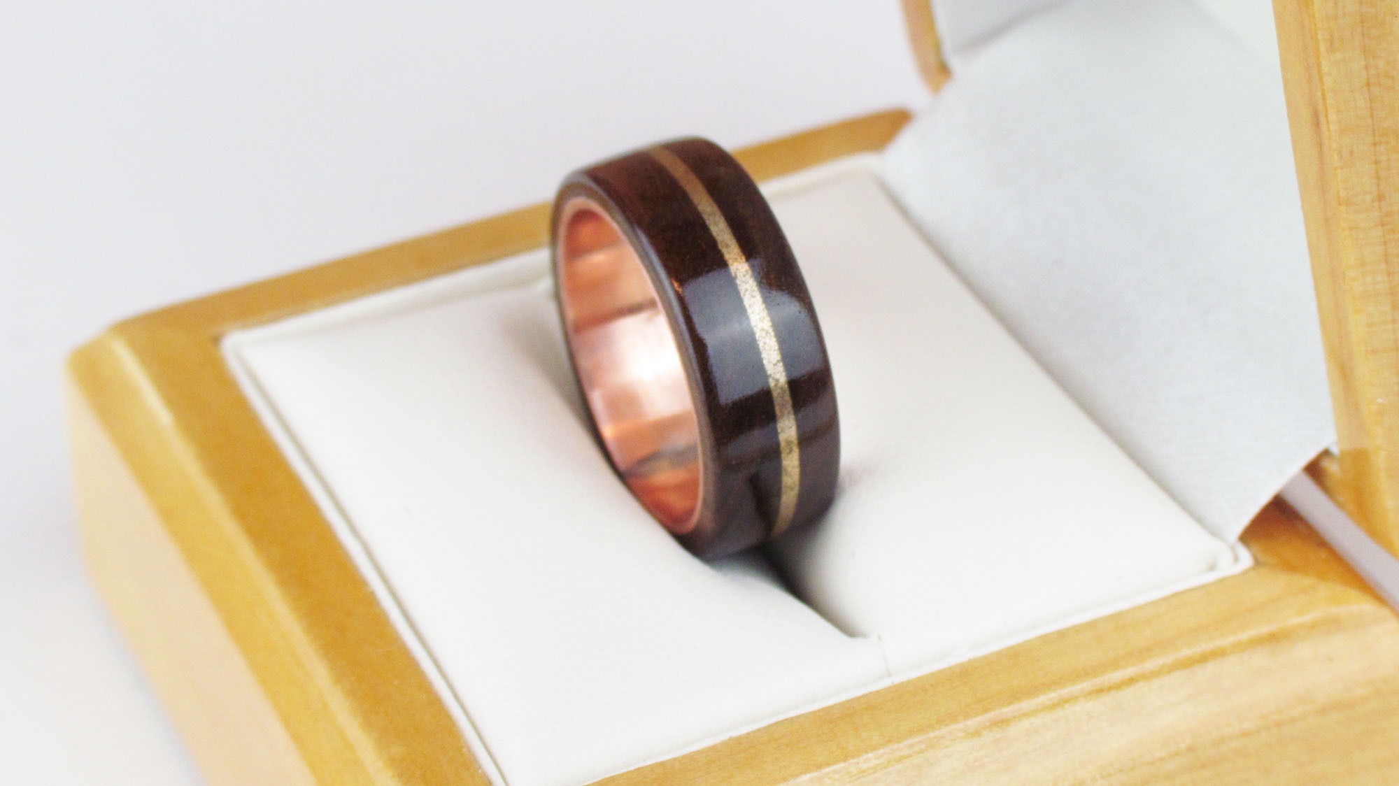 Wooden ring in box