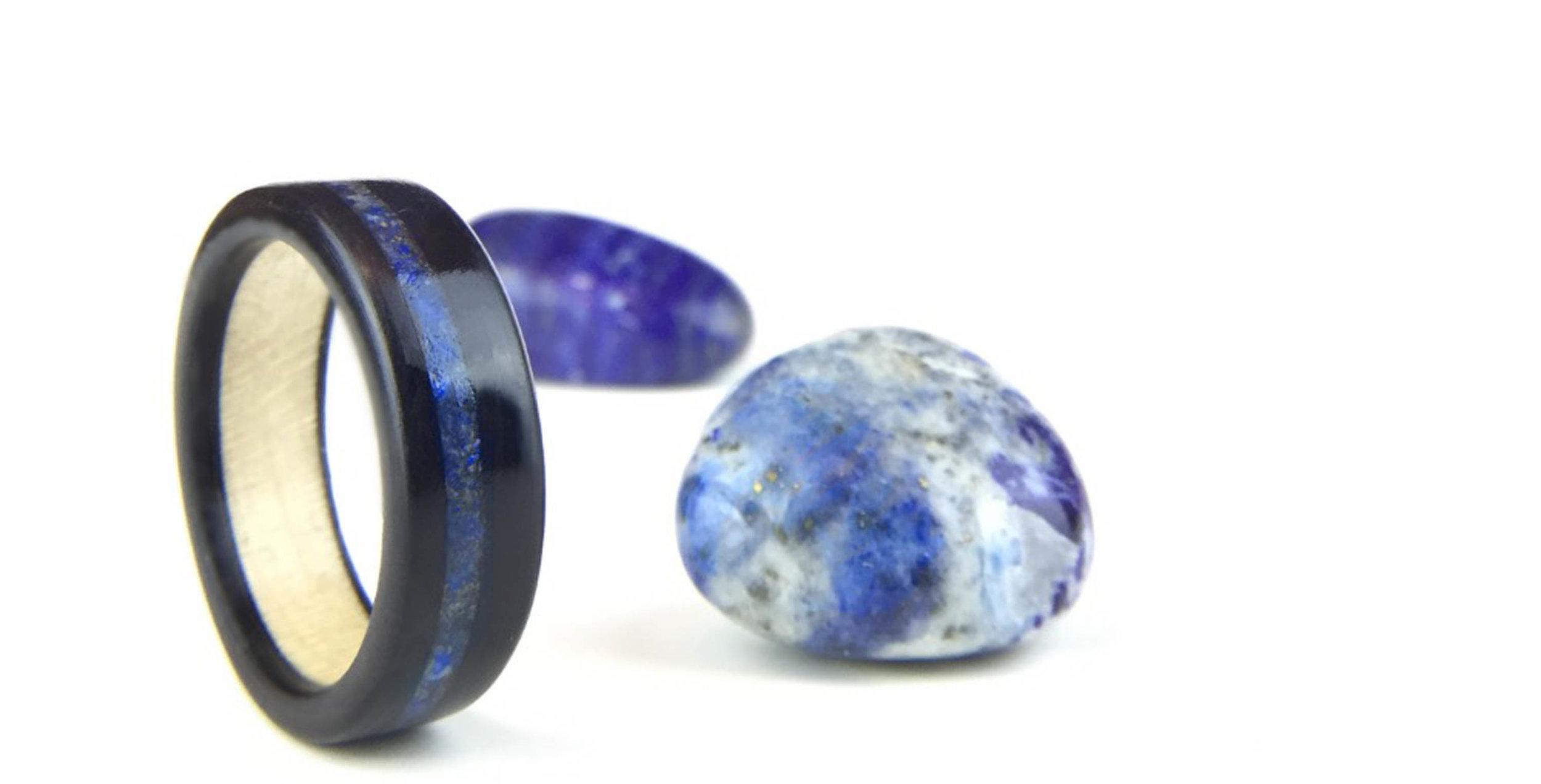 Blue Lapis Lazuli Gemstone - wood and gemstone