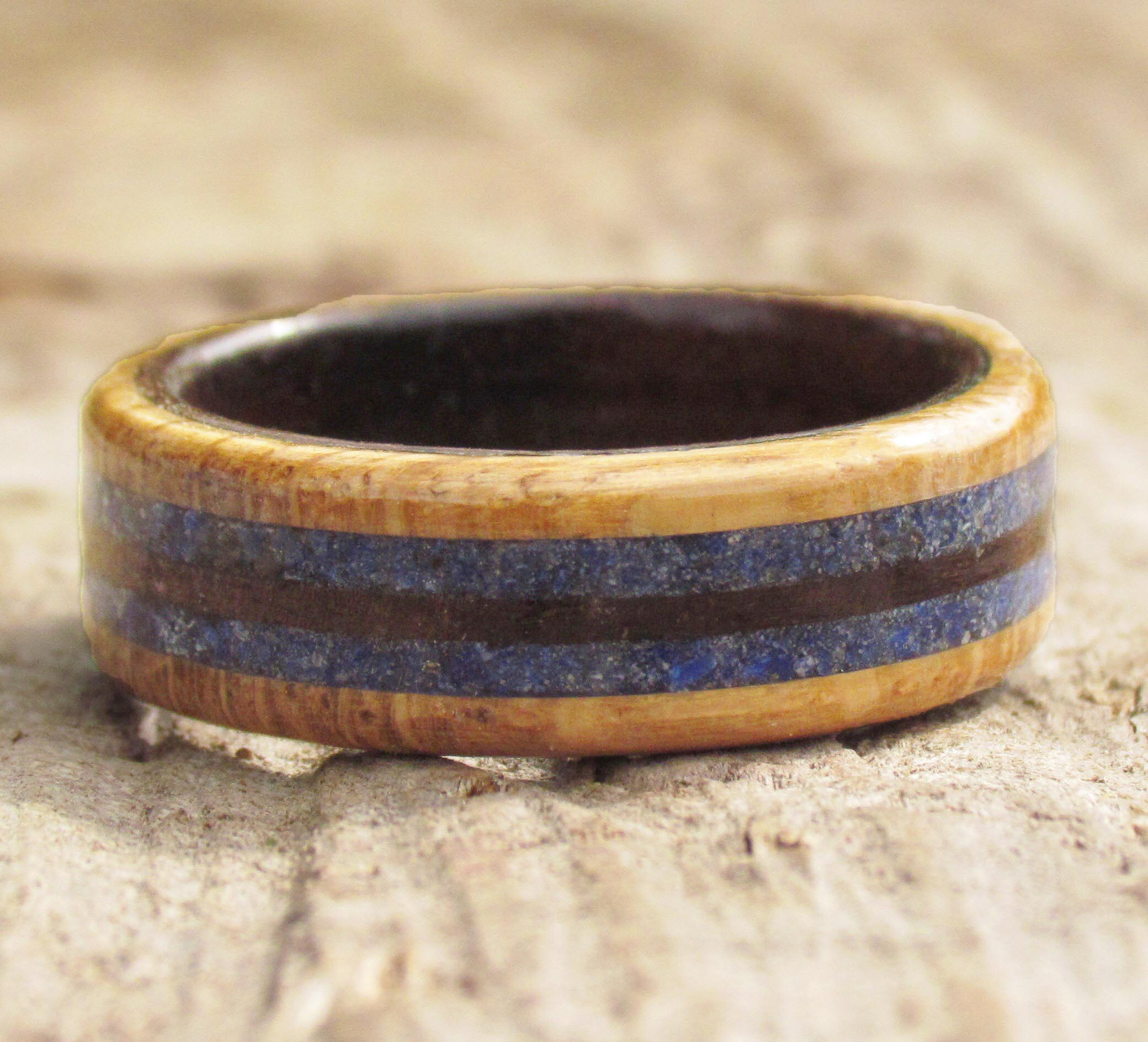 Wood Commitment Ring with Lapis Lazuli