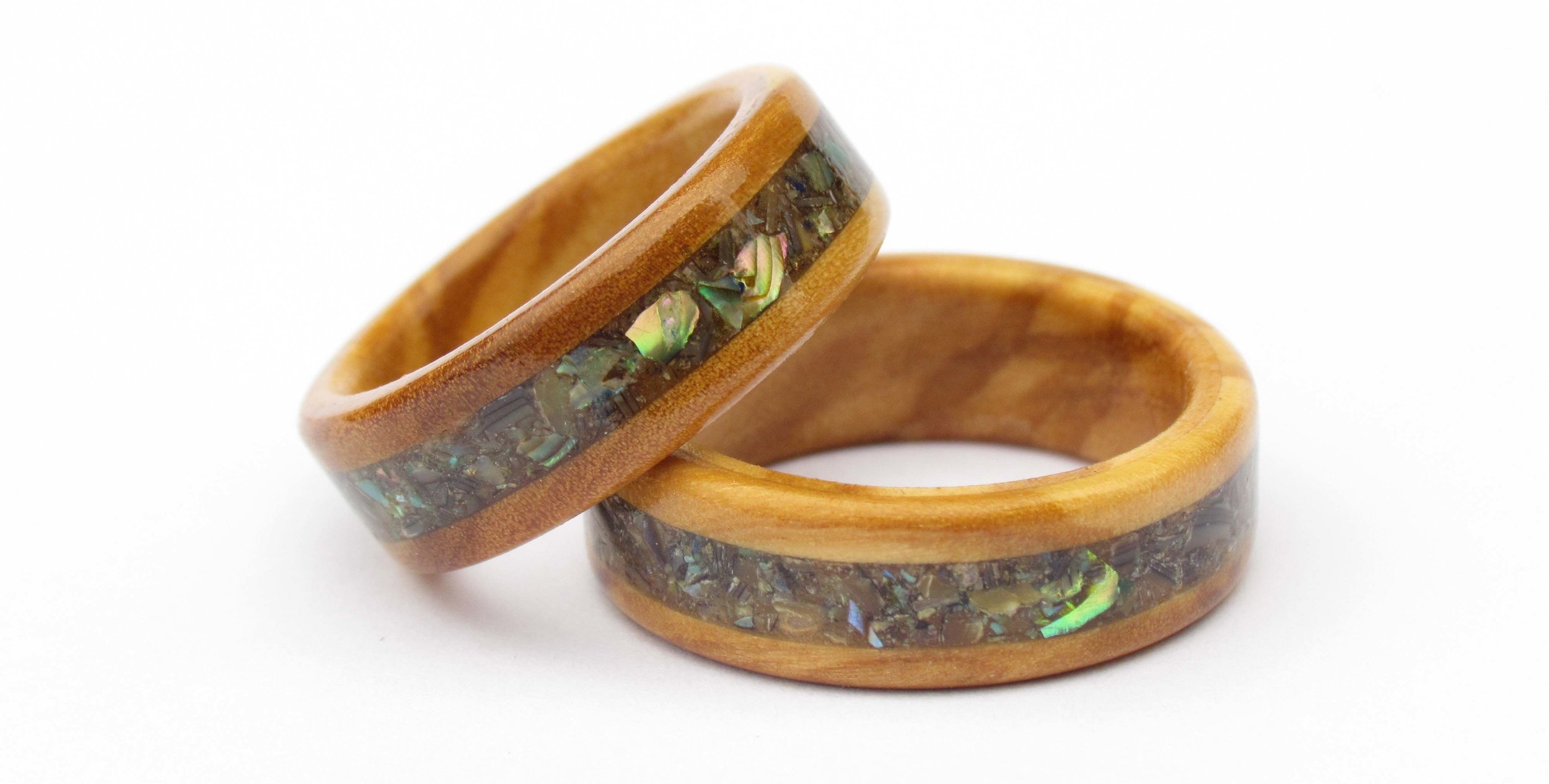 Our Most Popular Wooden Wedding Ring - Combined eco elements from the ocean and land make this wooden ring the perfect choice for those wishing to connect with nature.