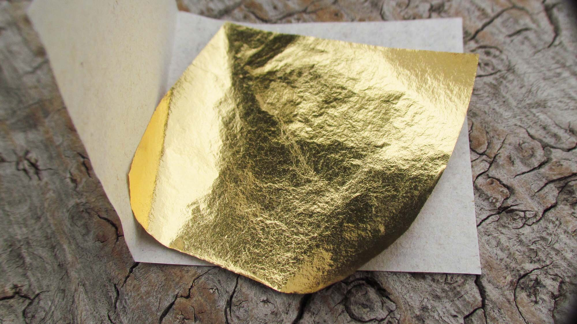 22 carat Gold leaf - The gold leaf sheet is set into a glass like resin and then polished to a deep sparkling gloss.
