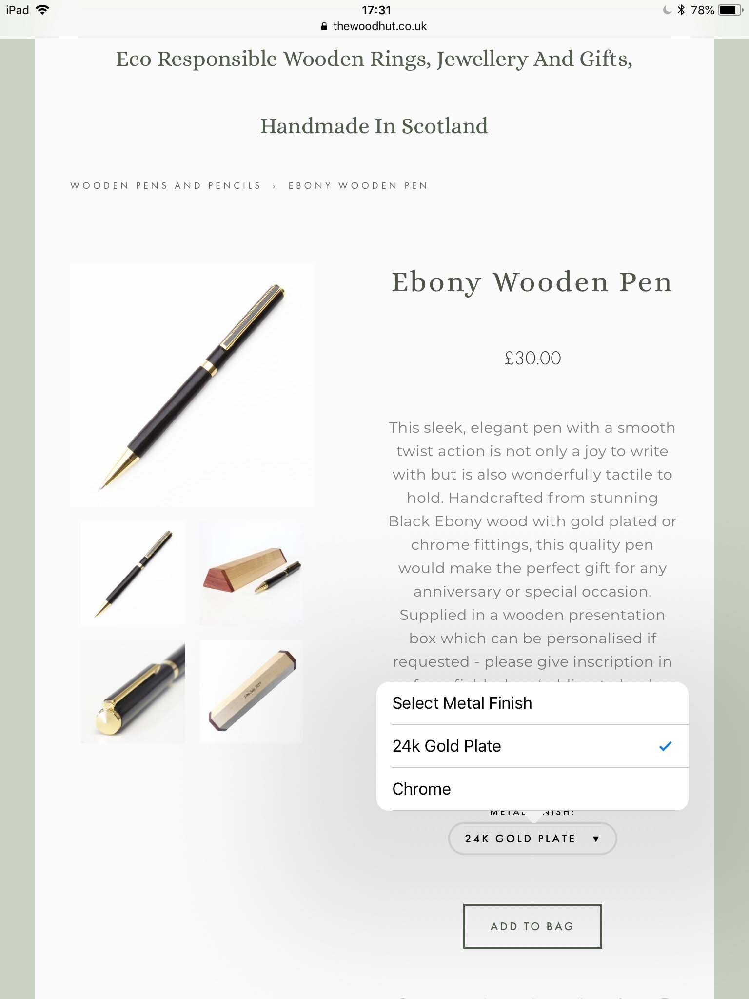 Choice of fittings for our wooden pens -