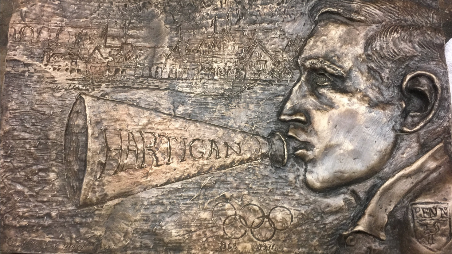 Bas-relief of rowing captain for Boathouse Row in Philadelphia.