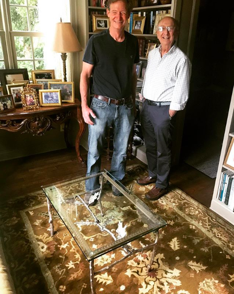 Christopher and his patron with the finished custom-designed end table in its new home.