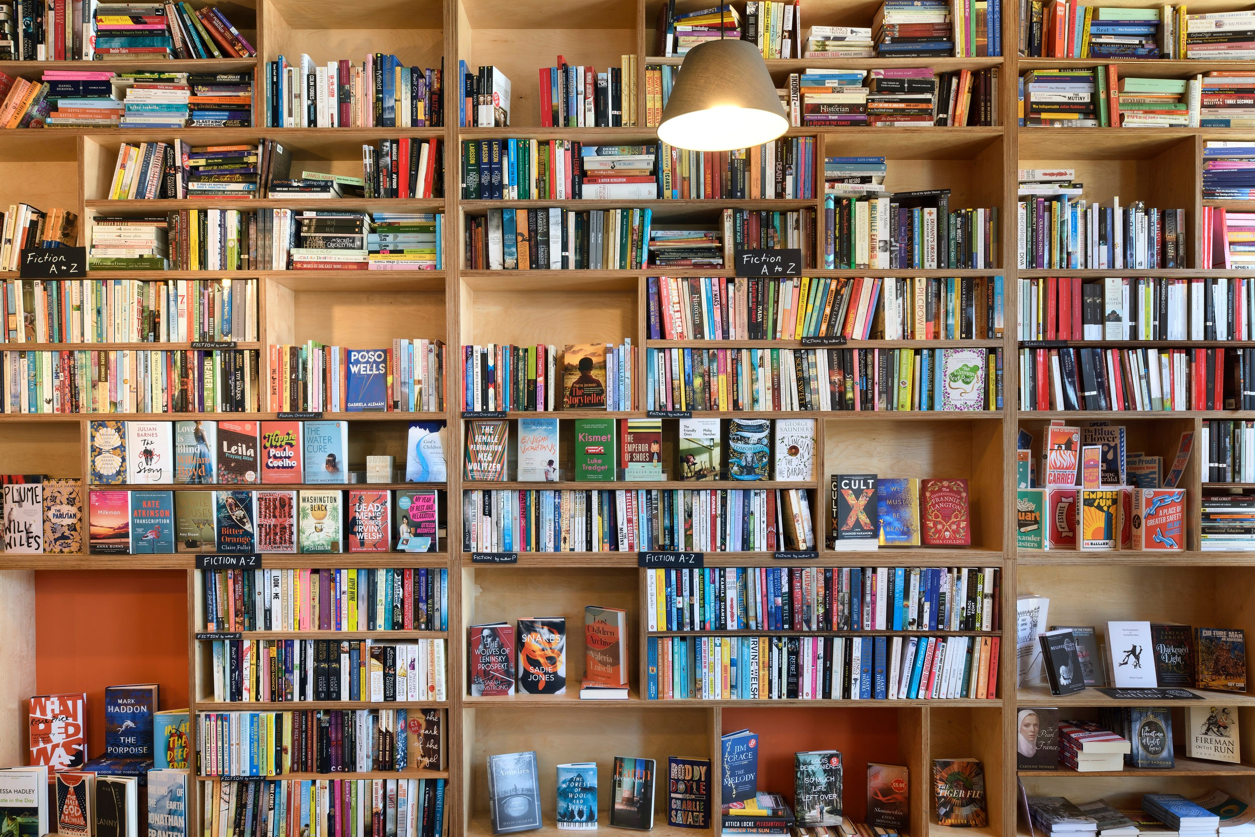 An image of a wall full of shelves l of books