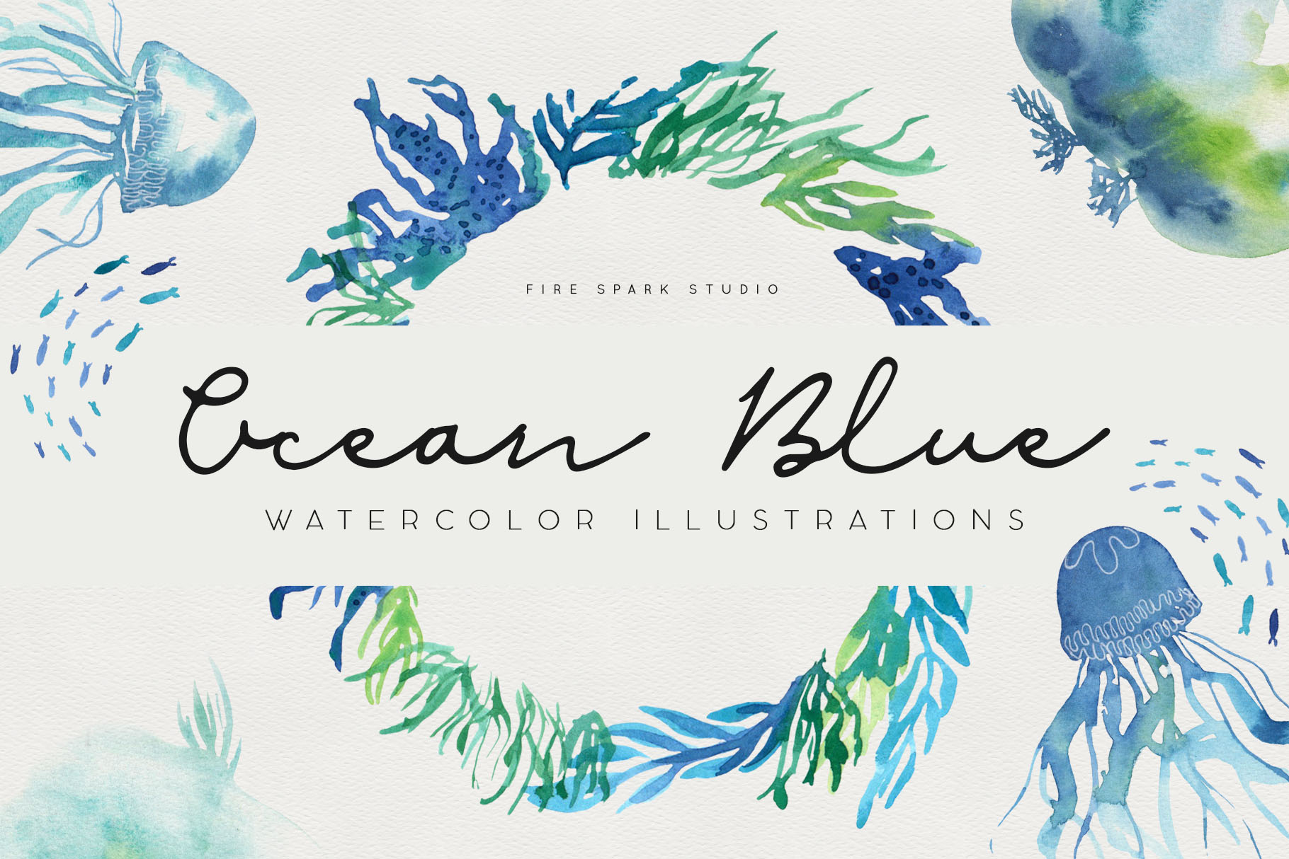Ocean Blue Watercolor Illustrations - $12+
