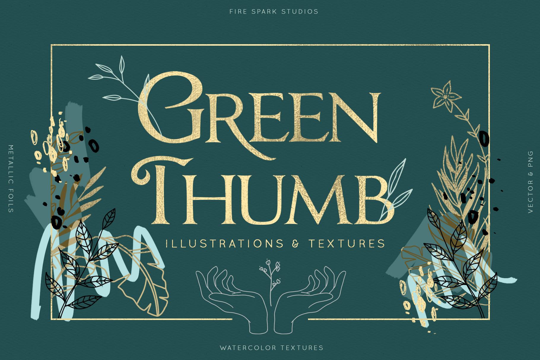 Green Thumb Illustrations & Textures - $14+