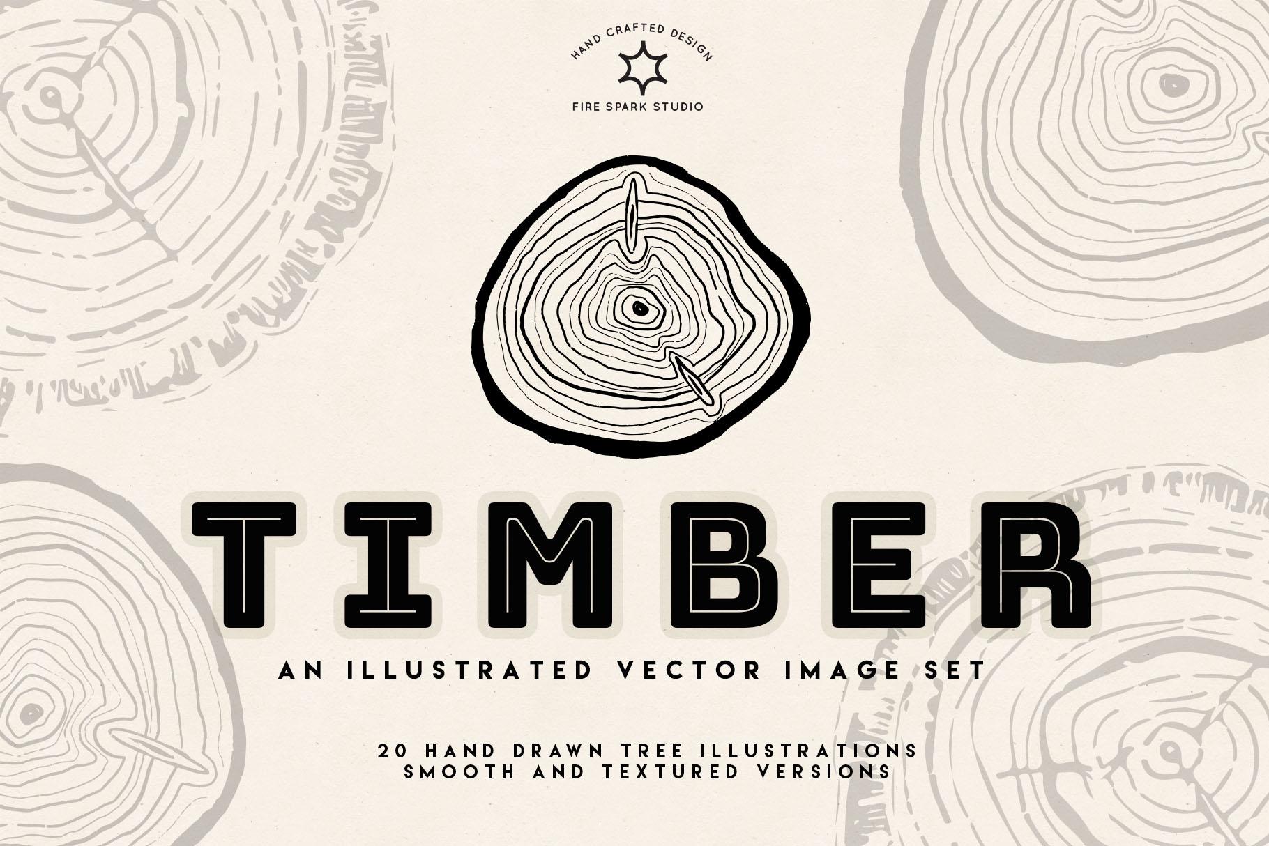 Timber Vector Tree Ring Illustrations - $10+