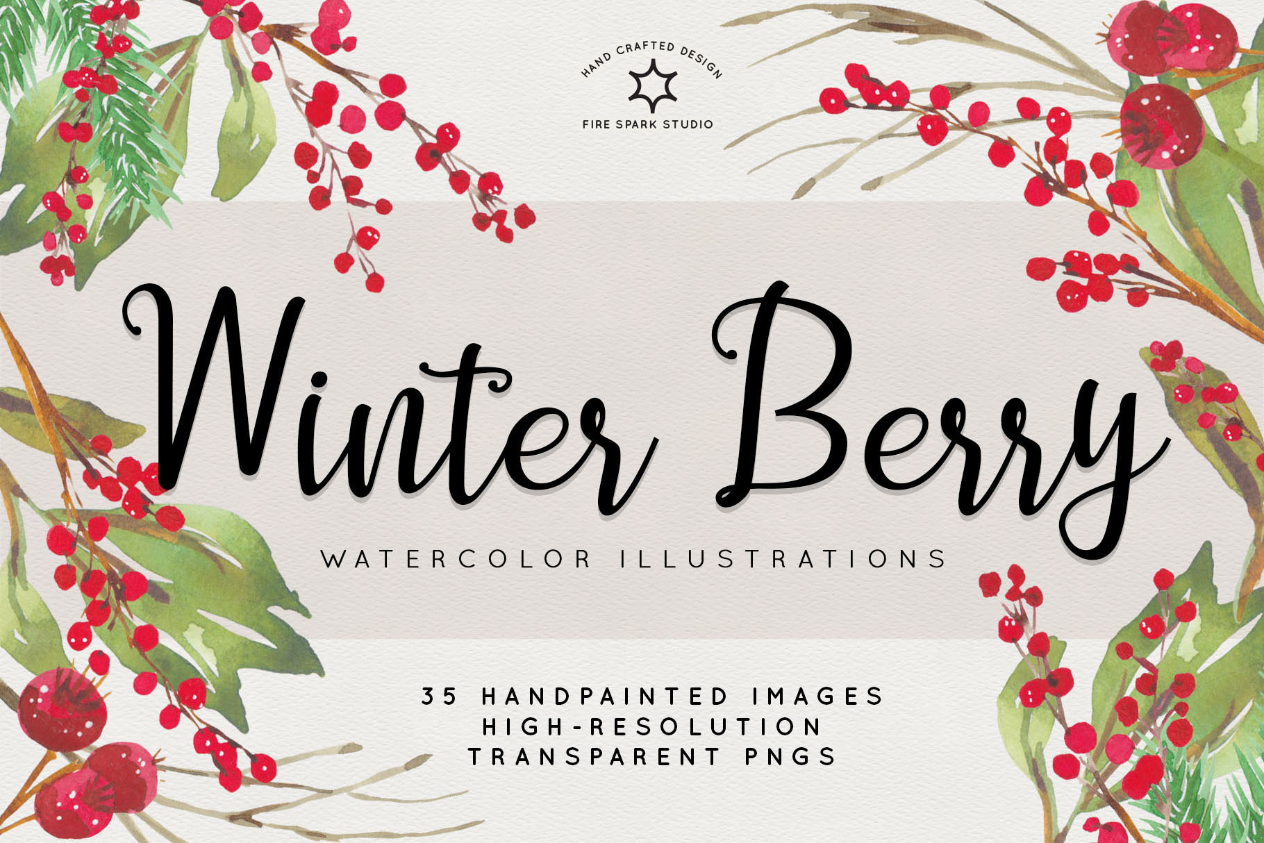 Winter Berry Watercolor Illustrations - $10+