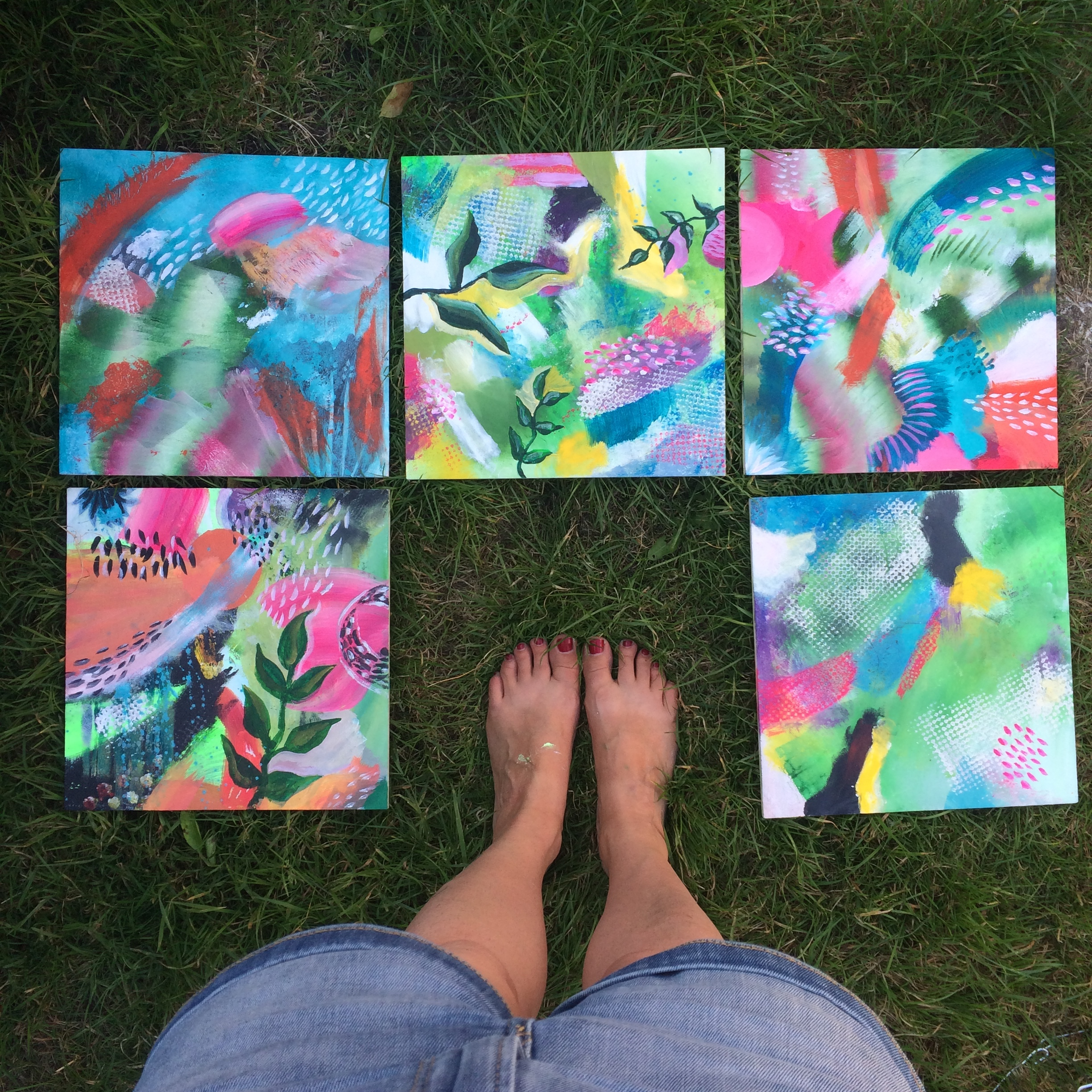 First stage paintings in the garden