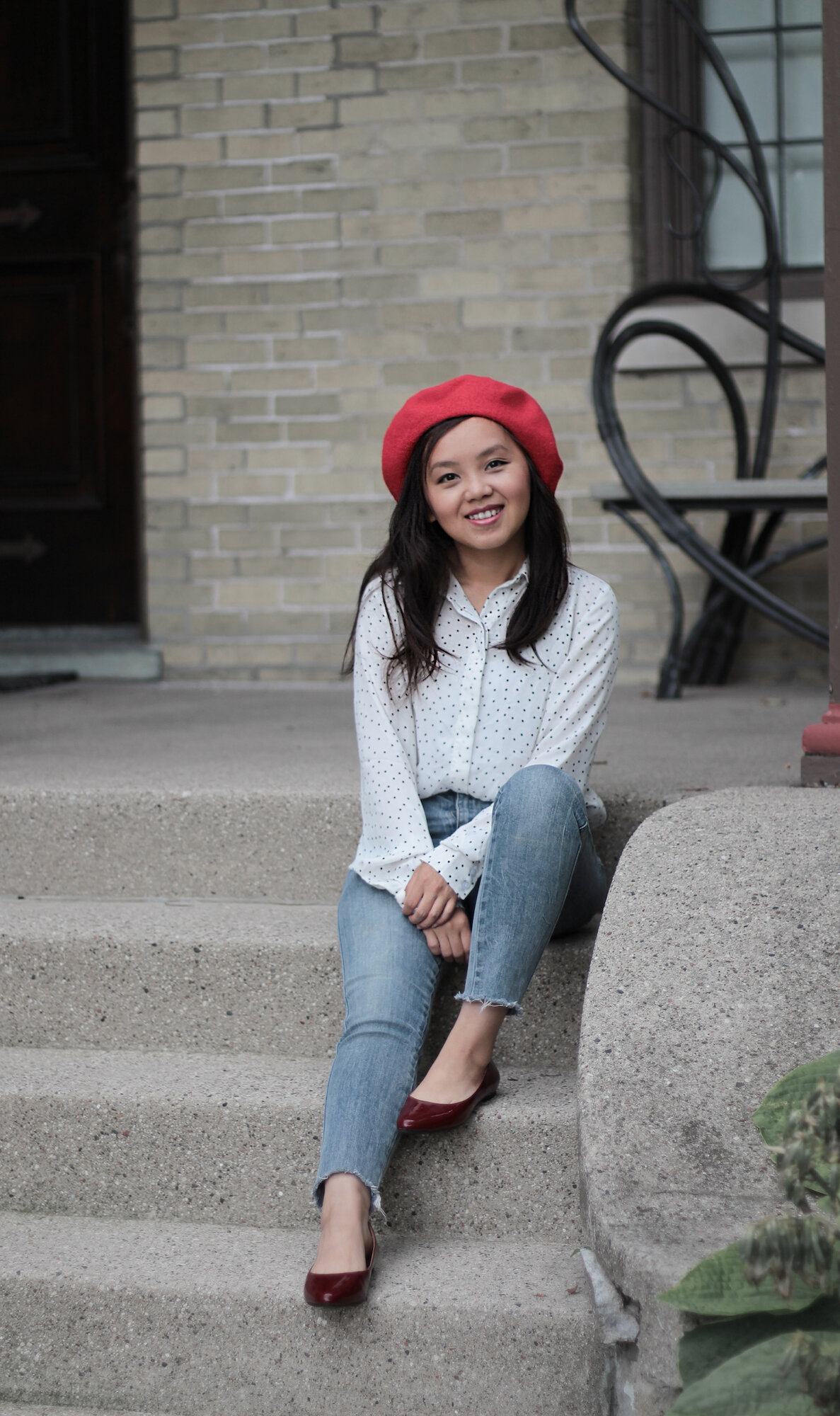 red beret outfit - petite fashion blogger.jpeg