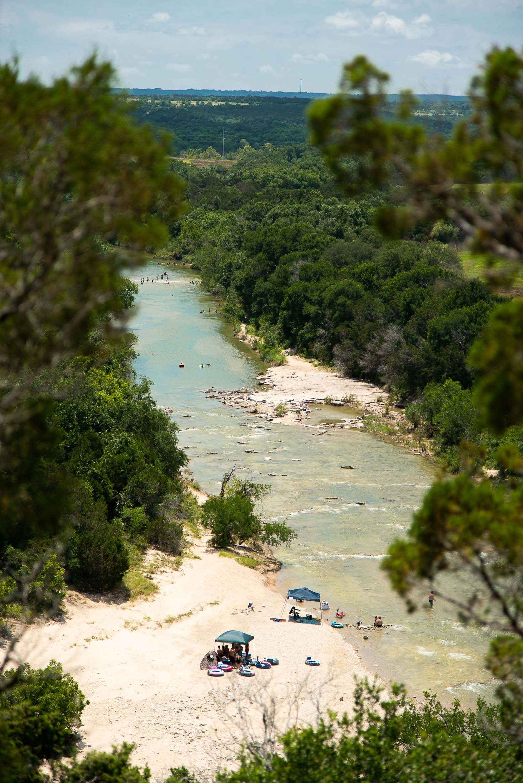 Bird's-eye view of the Paluxy River from the Overlook Trail at Dinosaur Valley State Park in Glen Rose, Texas by  Cameron Mosier .