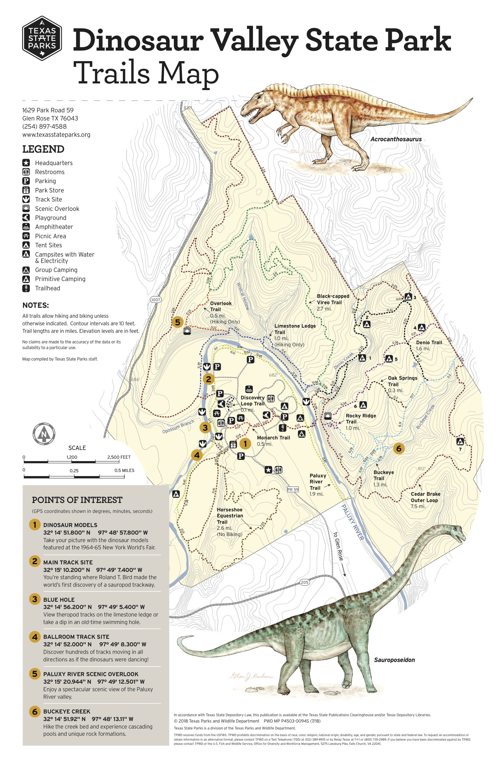 Dinosaur Valley Trails Map on Outside Dallas