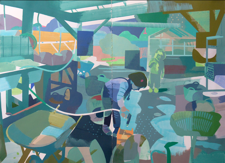 "Ada in the Garden, Deep Springs CA, mixed media on paper, 44 x 60"""