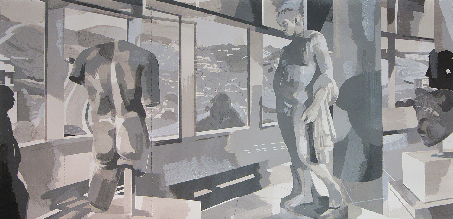 """Getty Museum, Los Angeles CA, mixed media on paper, 30 x 90"""""""