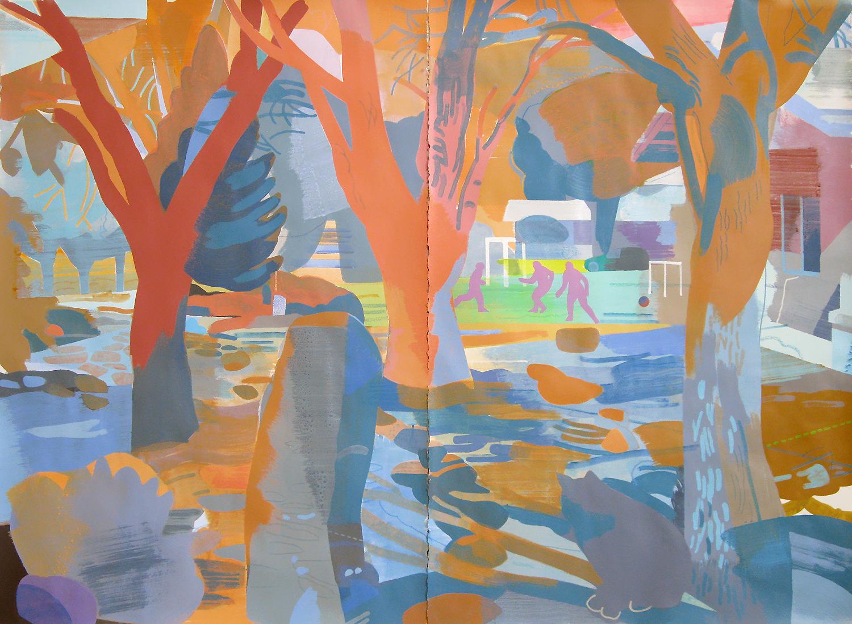 "Walking Path, Deep Springs CA, mixed media on paper, 44 x 60"""