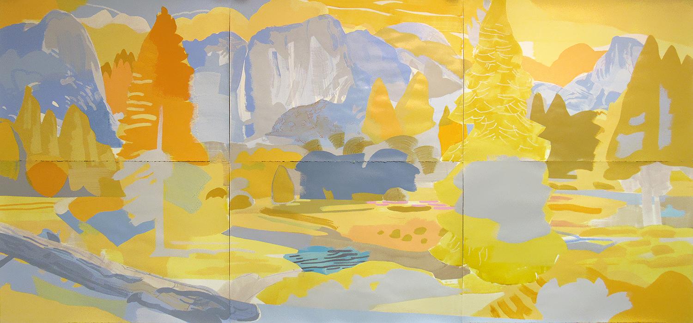 "Yosemite Valley, Yosemite CA, mixed media on paper, 60 x 132"""