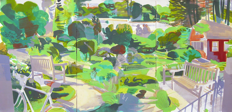 """Arboretum, Ann Arbor MI, mixed media on paper, 44 x 90"""""""