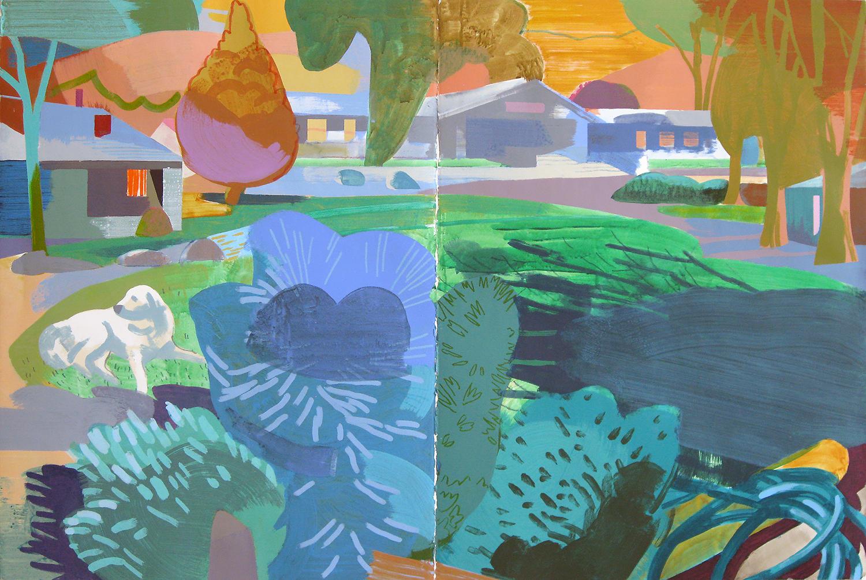"""Main Circle, Deep Springs CA, mixed media on paper, 30 x 44"""""""