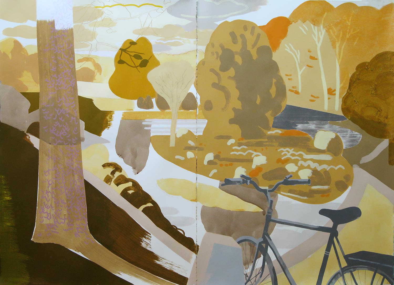 "Paradise Pond, Northampton MA, mixed media on paper, 44 x 60"""