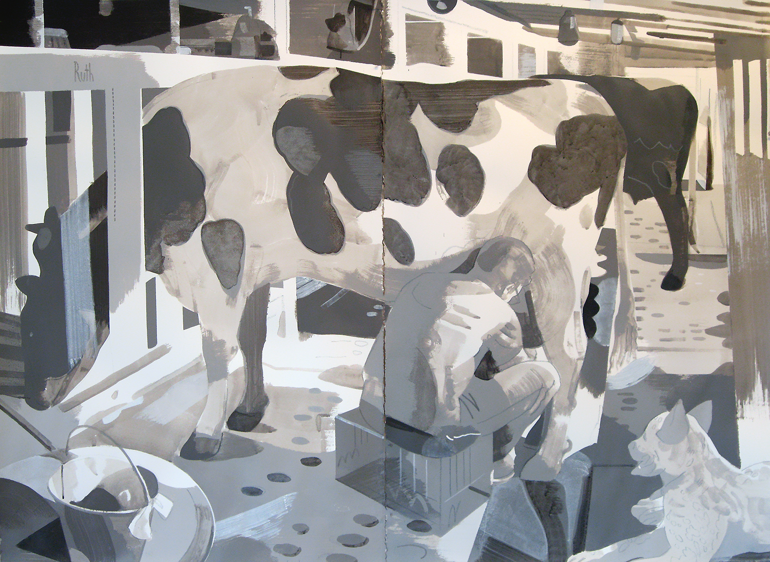 "Dairy, Deep Springs CA, mixed media on paper, 44 x 60"" (collection, Deep Springs College)"