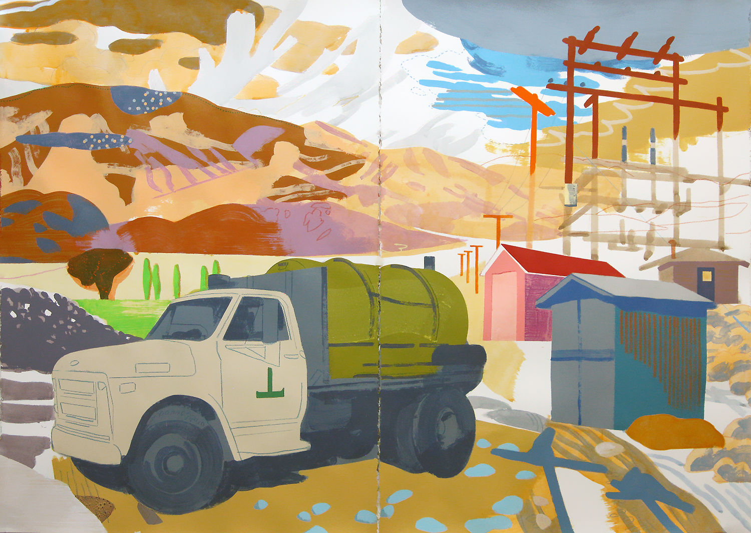 "Water Truck, Deep Springs CA, mixed media on paper, 44 x 60"" (private collection, Washington)"