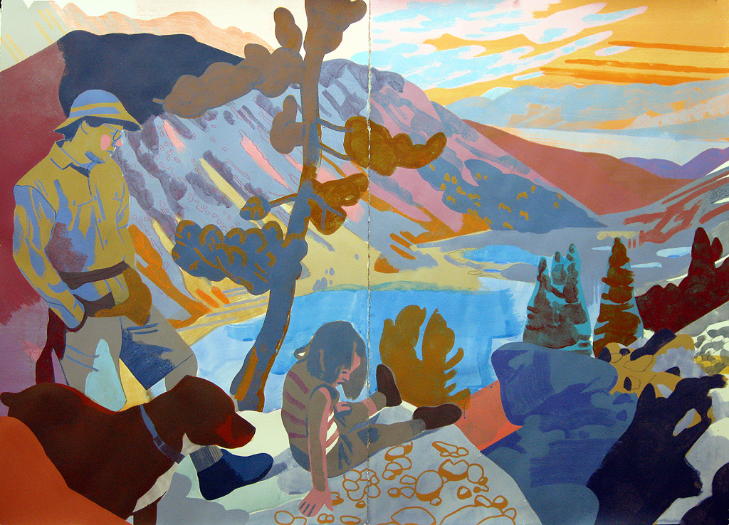 "Hike to Blue Lake, Sierra Nevada CA, mixed media on paper, 44 x 60"" (private collection, WIlliamstown MA)"