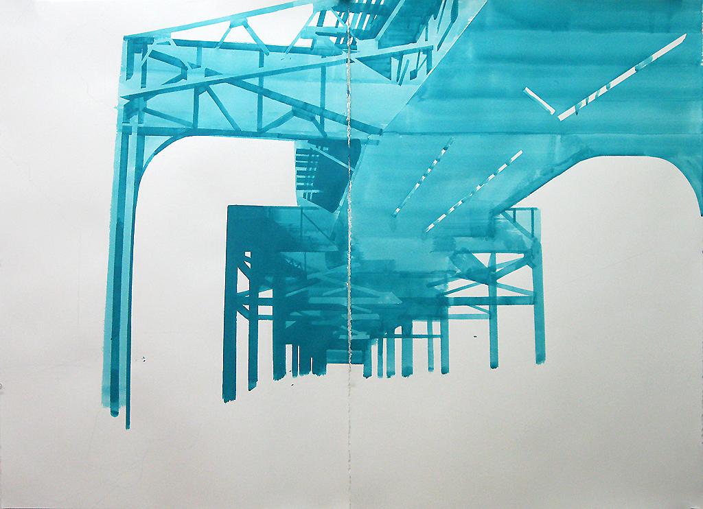 """Under the 7, Long Island City NY, mixed media on paper, 44 x 60"""""""