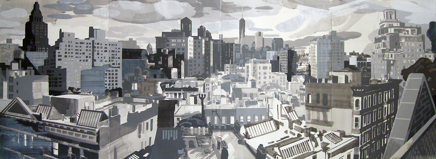 61 West 9th St., New York NY, mixed media on paper, 44 x 120""