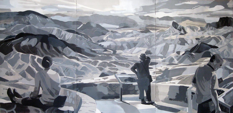 """Zabriskie Point, Death Valley CA, mixed media on paper, 44 x 90"""""""