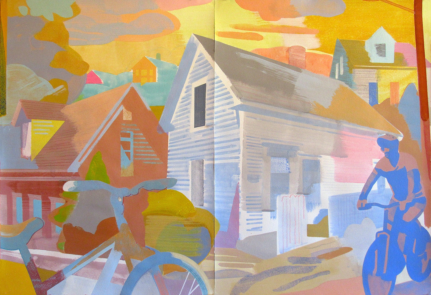 """End of Tremont St., Provincetown MA, mixed media on paper, 30 x 44"""""""