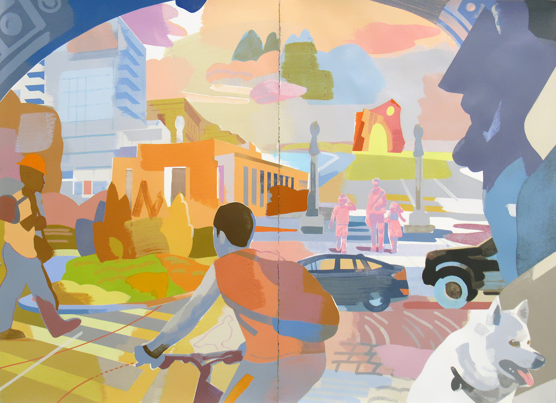 "Grand Army Plaza, Brooklyn NY, mixed media on paper, 44 x 60"" (private commission, Brooklyn NY)"