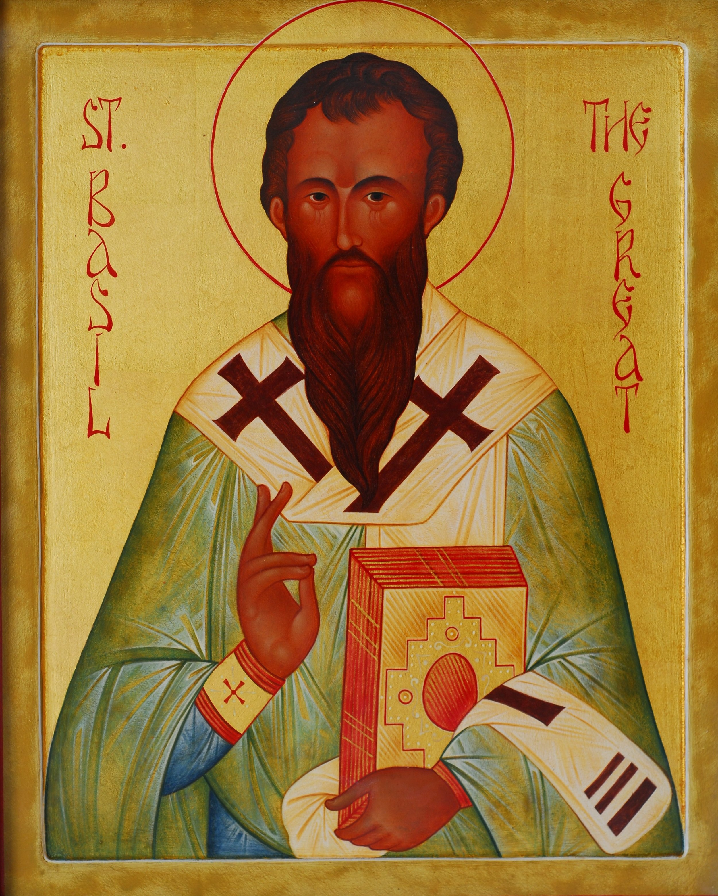 """This icon (Greek for """"image"""") was hand-painted for our community. St Basil is wearing episcopal vestments, holding the Gospel Book, and blessing with the  Christogram ."""
