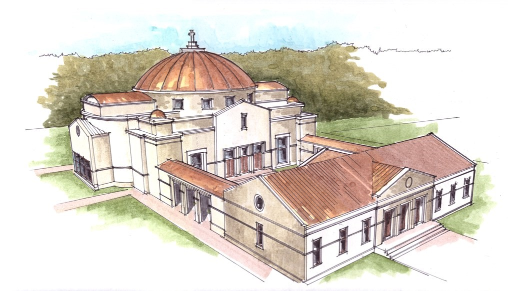An artistic rendering of what our future Temple might look like next to our current building.