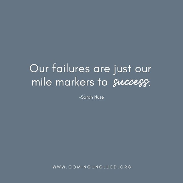 Our brilliant guest, Sarah Nuse, shared her view of failures in Episode 5, and we agree with her! Don't let failures stop you in your tracks. They are just mile markers to success. The more you have, the further you go. Is there somewhere you can step out and embrace the possibility of failing? We believe in you! ⠀⠀⠀⠀⠀⠀⠀⠀⠀ .⠀⠀⠀⠀⠀⠀⠀⠀⠀ .⠀⠀⠀⠀⠀⠀⠀⠀⠀ . ⠀⠀⠀⠀⠀⠀⠀⠀⠀ #podcast #podcasts #podcasting #coming_unglued_official #kim_anderson_life #life_by_loriz #counselor #lifecoach #nutrition #health #fitness #empowered #courage #vulnerability #work #goals #itunes #podcastlife #nashville #interview #marketing #bossgirls #life #inspiration #relationships #music #sarahnuse