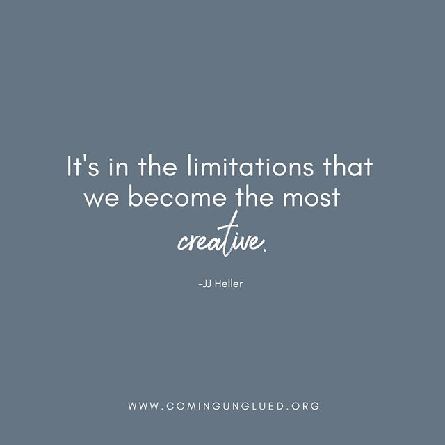 Limitations aren't fun, but they CAN produce our finest moments. As JJ Heller shares in her interview in Episode 6 of the Coming Unglued podcast, the limitations she faced moved her into new ideas and strategies. It was in the process of figuring out new options, she found a new path that she hadn't even considered. ⠀⠀⠀⠀⠀⠀⠀⠀⠀ ⠀⠀⠀⠀⠀⠀⠀⠀⠀ Check it out (LINK IN BIO) in iTunes! Search for the Coming Unglued podcast!