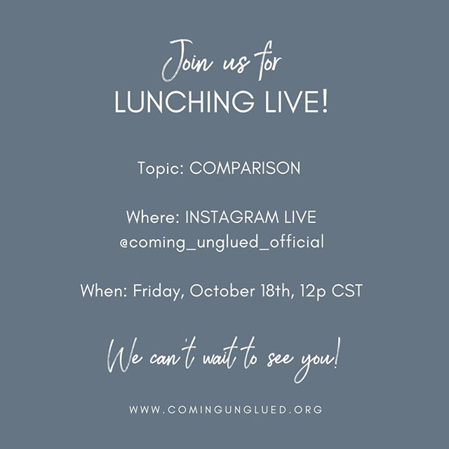 News flash! We are going LIVE on Insta this Friday at 12p CST! Grab your lunch and join us as we tackle the topic of COMPARISON. ⠀⠀⠀⠀⠀⠀⠀⠀⠀ ⠀⠀⠀⠀⠀⠀⠀⠀⠀ Why do we compare ourselves to other women?⠀⠀⠀⠀⠀⠀⠀⠀⠀ ⠀⠀⠀⠀⠀⠀⠀⠀⠀ How do we stop?⠀⠀⠀⠀⠀⠀⠀⠀⠀ ⠀⠀⠀⠀⠀⠀⠀⠀⠀ Together, we'll identify three ways to change the comparison game all together. ⠀⠀⠀⠀⠀⠀⠀⠀⠀ ⠀⠀⠀⠀⠀⠀⠀⠀⠀ Spread the word! You won't want to miss out! 🙌🏻🙌🏻⠀⠀⠀⠀⠀⠀⠀⠀⠀ .⠀⠀⠀⠀⠀⠀⠀⠀⠀ .⠀⠀⠀⠀⠀⠀⠀⠀⠀ .⠀⠀⠀⠀⠀⠀⠀⠀⠀ #podcast #podcasts #podcasting #coming_unglued_official #kim_anderson_life #life_by_loriz #counselor #lifecoach #nutrition #health #fitness #empowered #courage #vulnerability #work #goals #itunes #podcastlife #nashville #interview #marketing #bossgirls #life #inspiration #relationships #music #antidiet