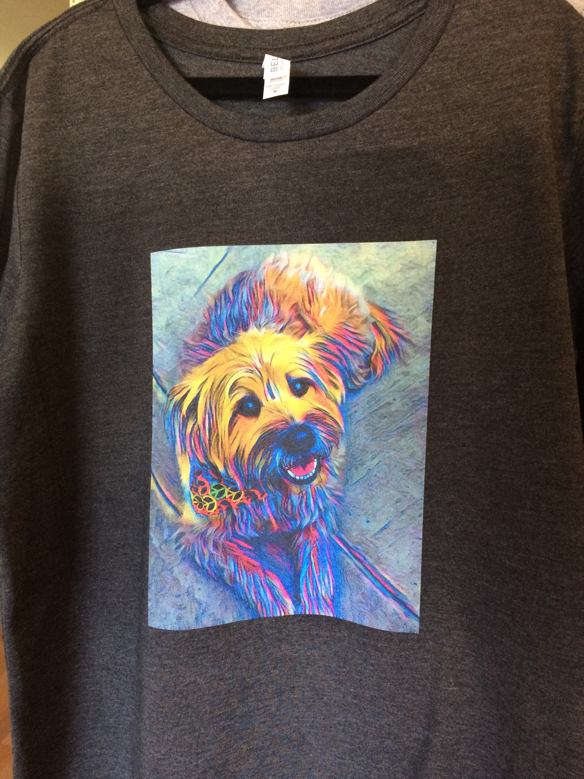Favorite pets make favorite shirts as we print beautiful, colorful pictures on clothing.