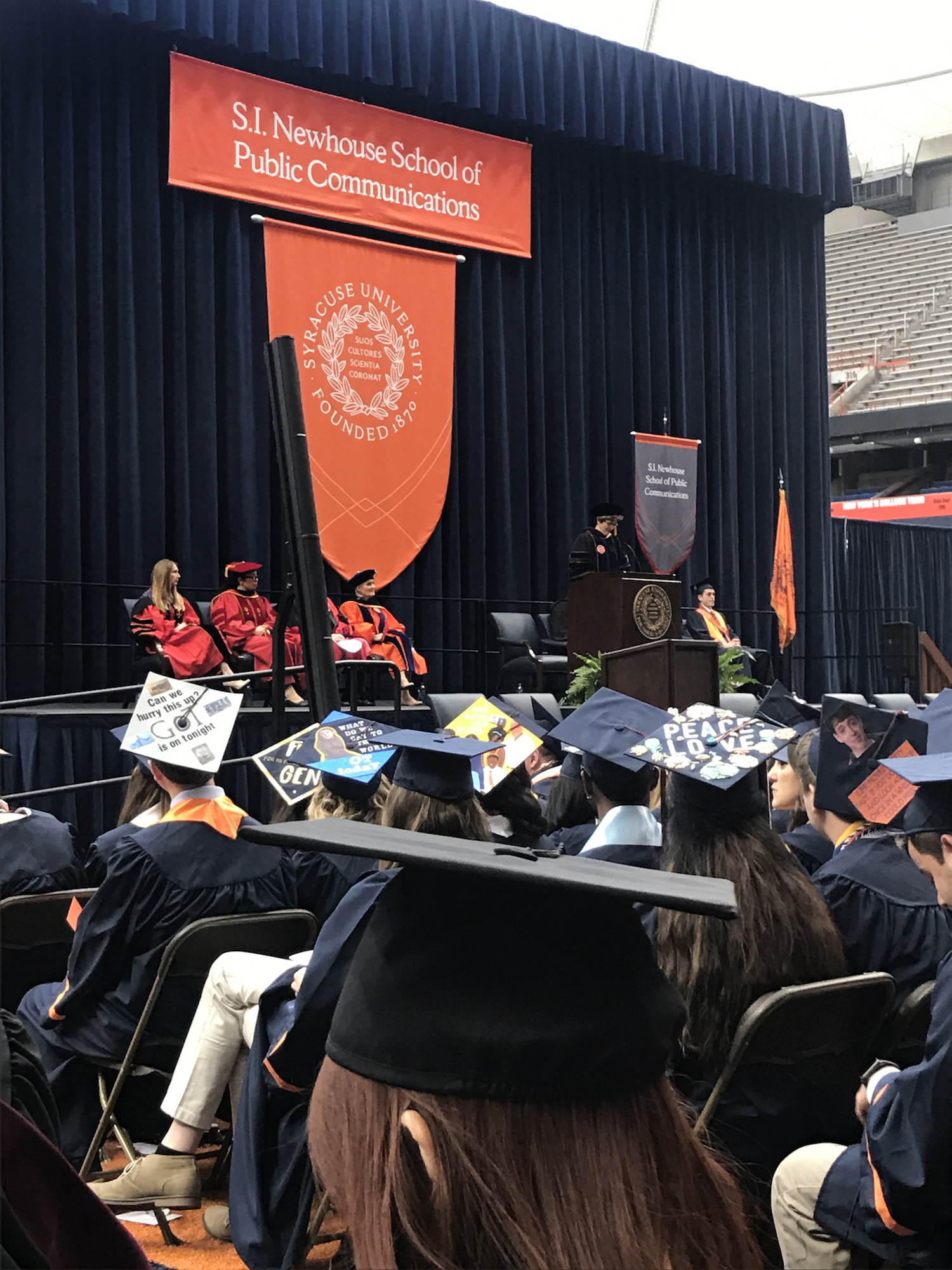 Syracuse University Newhouse convocation day with speaker, Dean Amy Falkner, May 2019.