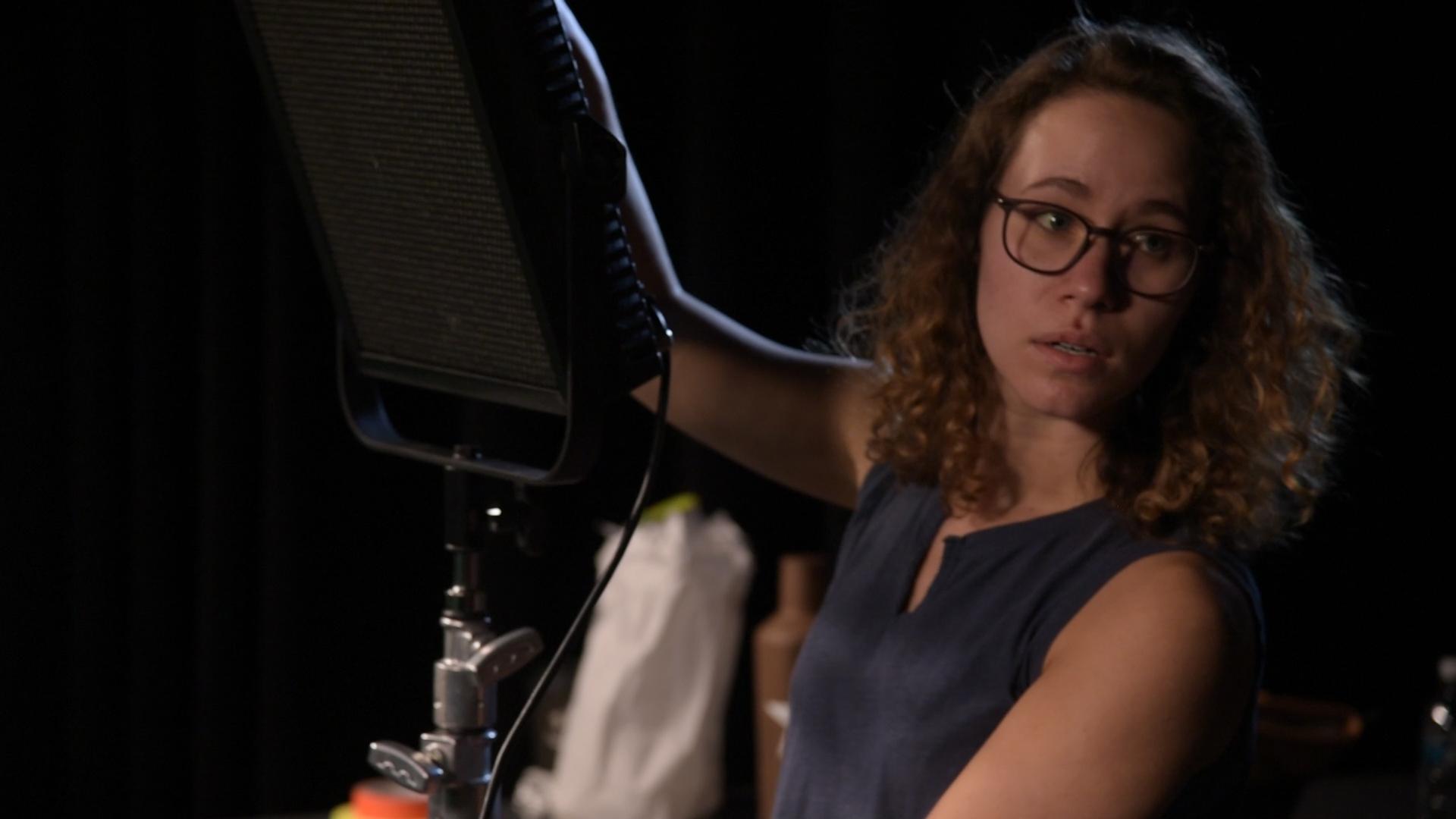 Brianna Green behind the scenes on the set of Geena Matuson's (@geenamatuson) film shoot, 2019. Cinematography by Matthew DeVirgilio. See more @ geenamatuson.com.