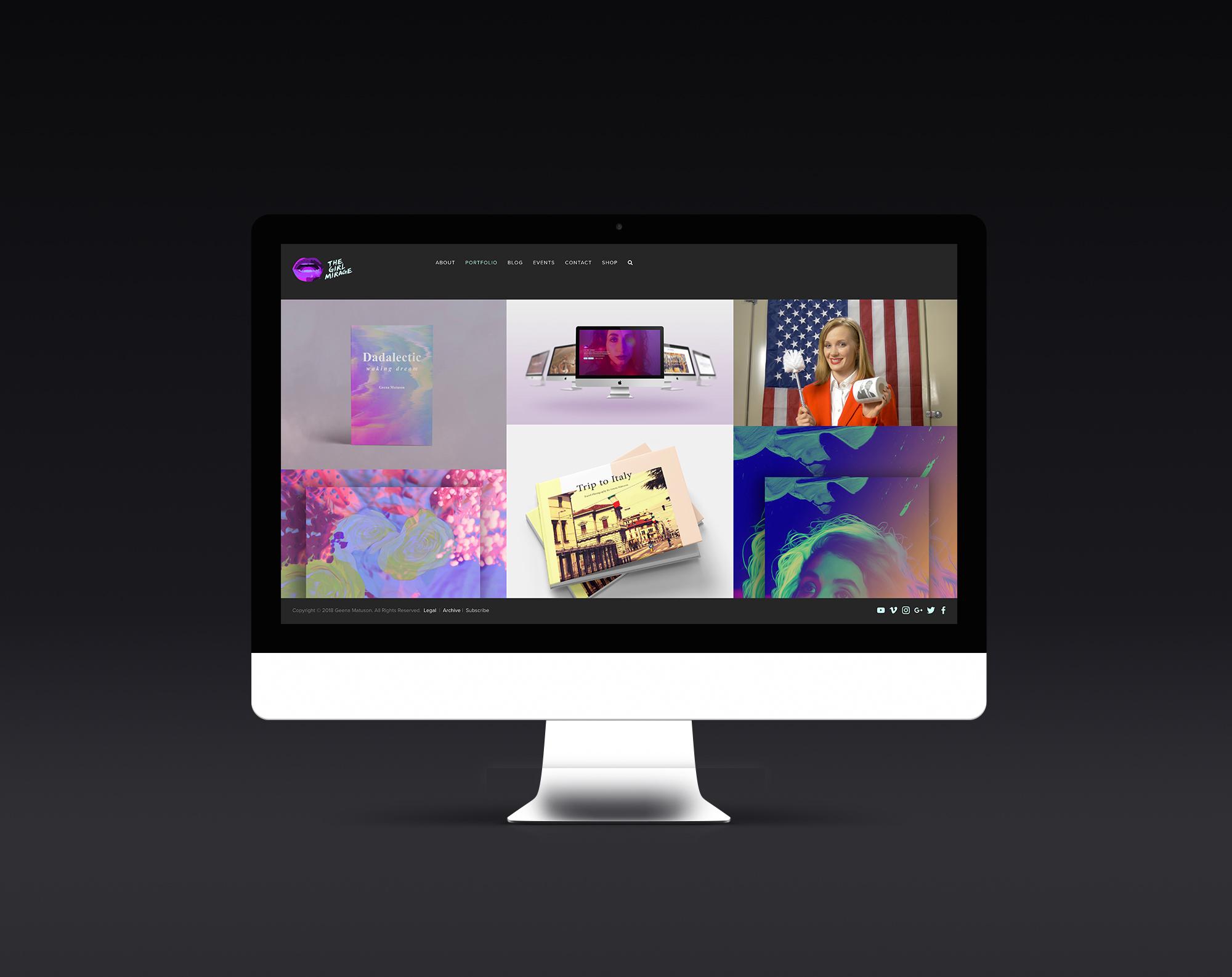 The Girl Mirage website and branding by Geena Matuson (@geenamatuson).