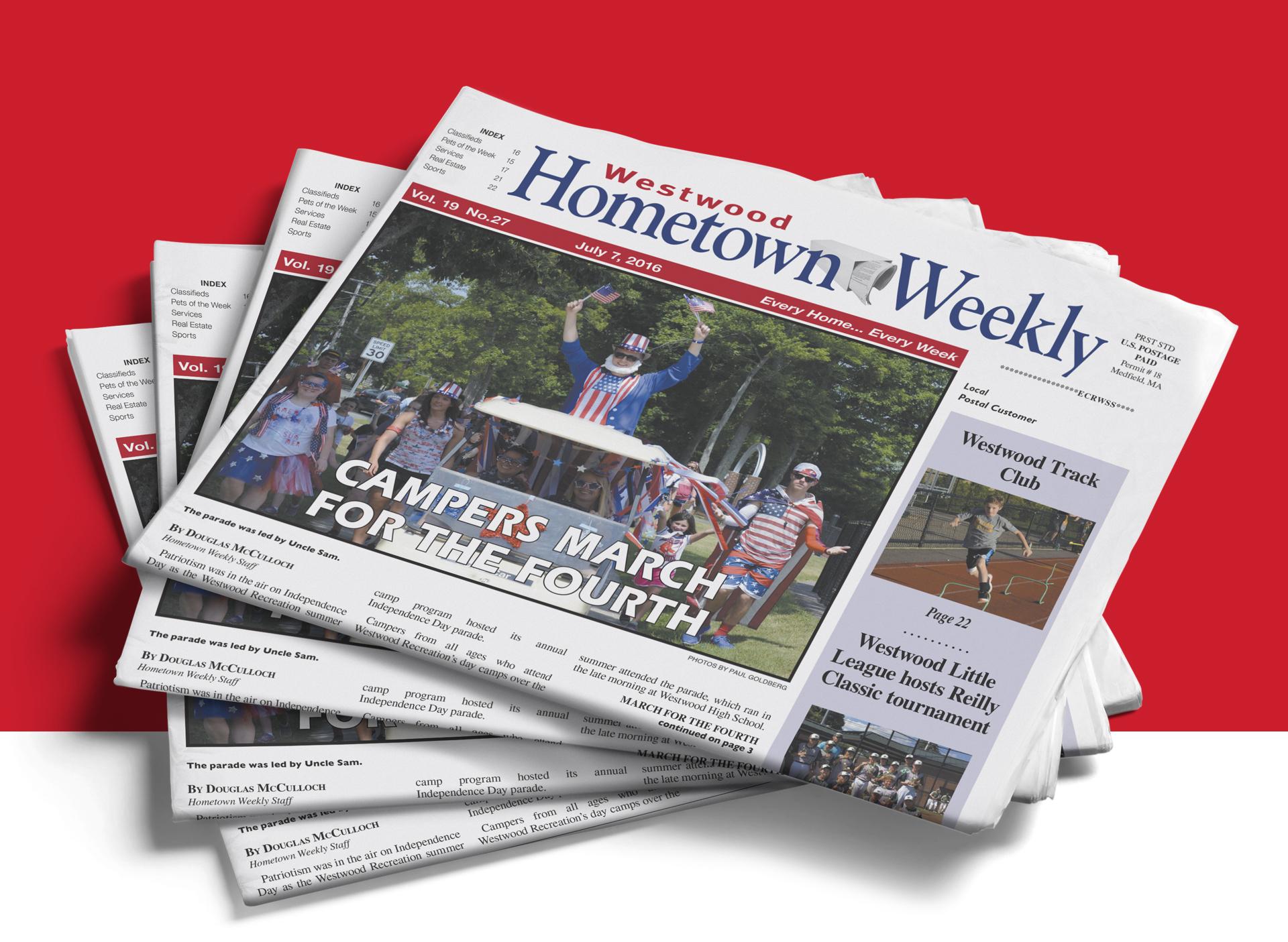 Geena's Matuson's work in layout design for newspaper Hometown Publications, LLC.