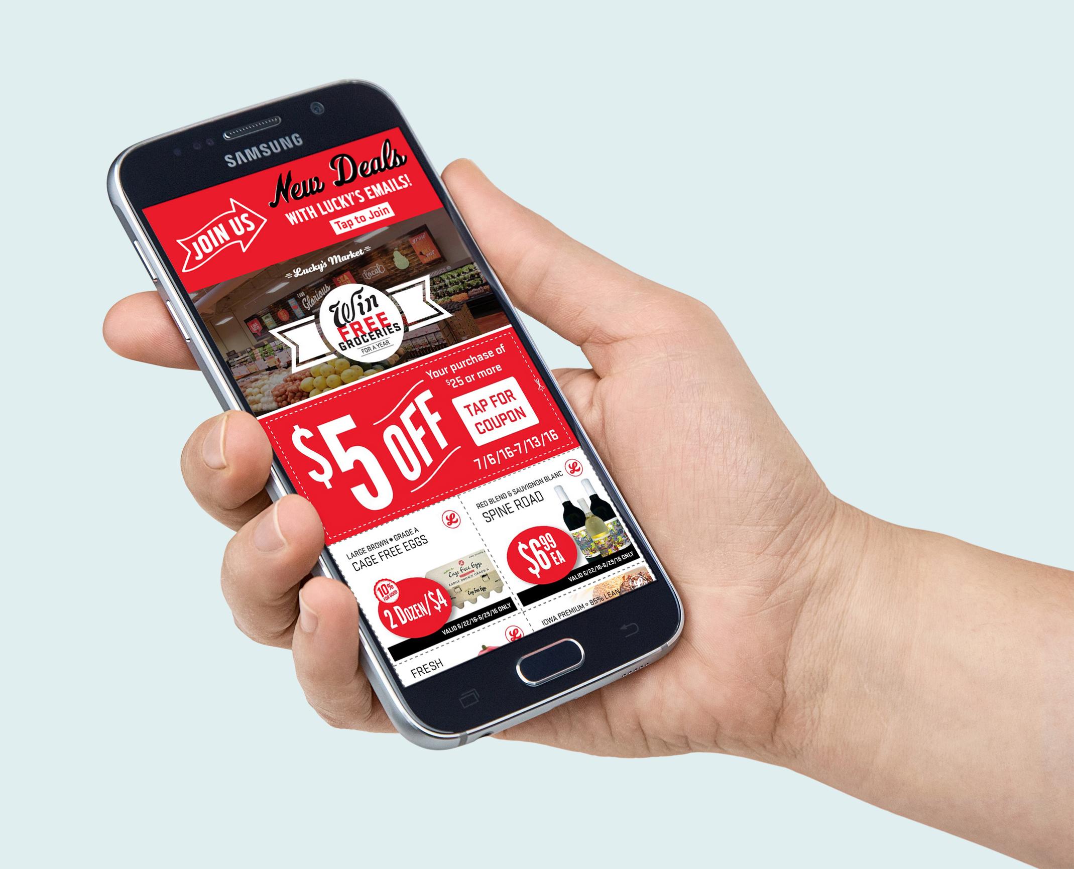 Geena Matuson's design work for Lucky's Market app.