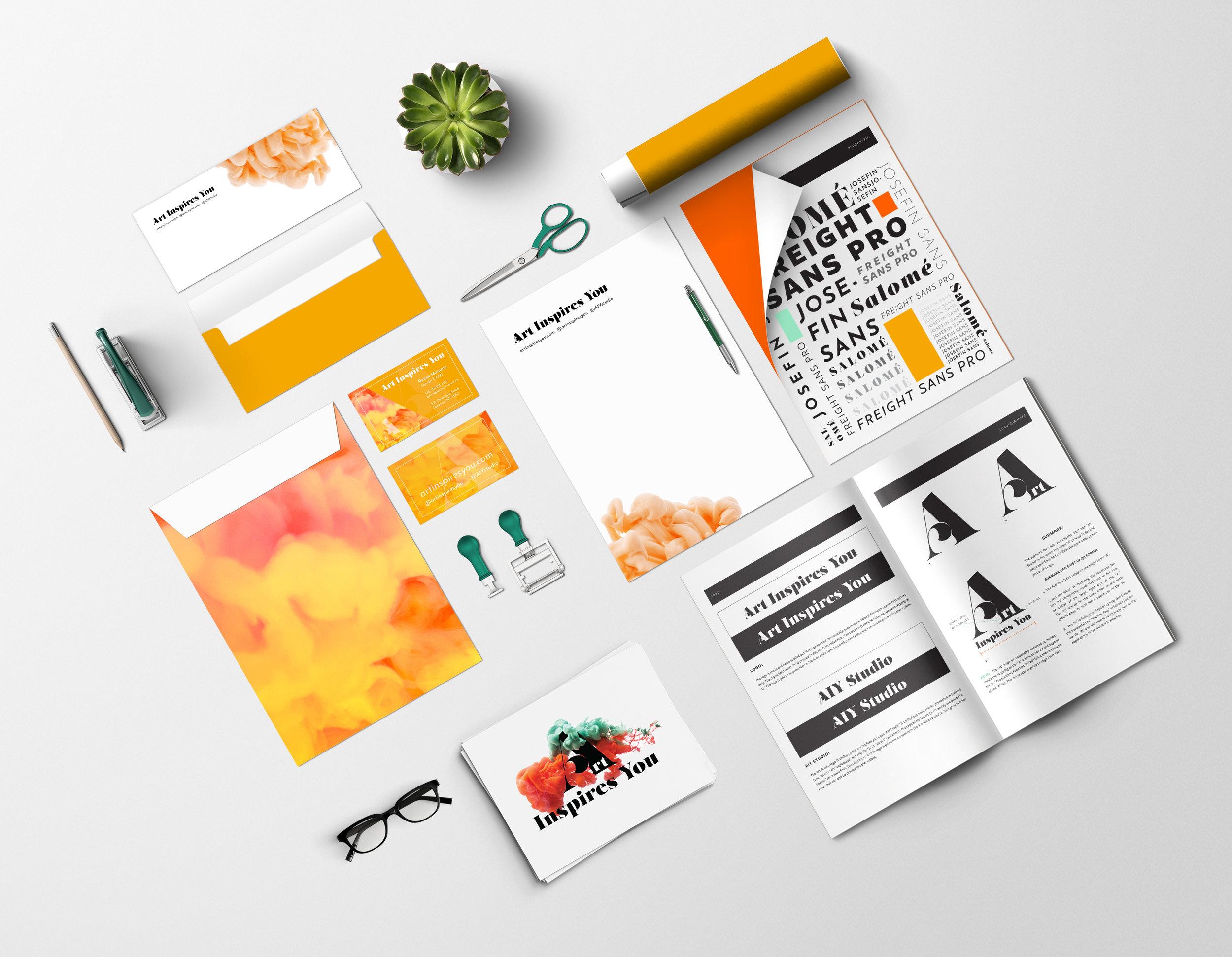 """Sample identity branding design for """"Art Inspires You"""" AIY Studio (@artinspiresyou), launching 2019."""