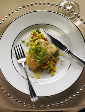 Entree -Pan Seared Trout with Corn Succatash, Citrus Butter Sauce, Micro Greens.jpg