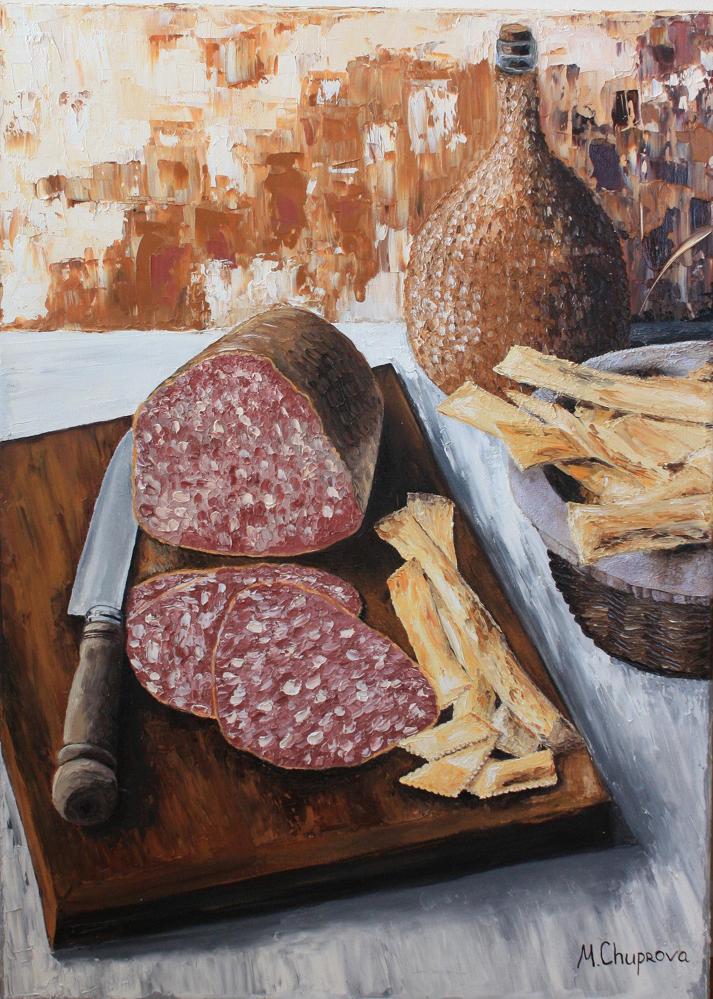 MargaritaCruzArt-Oil_painting-Still_life-ham-wine1.jpg