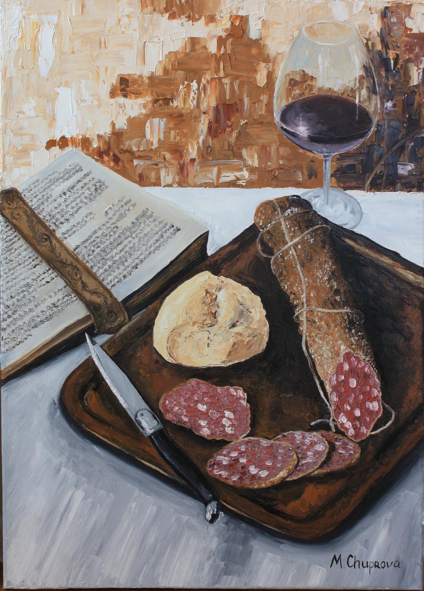 MargaritaCruzArt-Oil_painting-Still_life-ham-wine.jpg